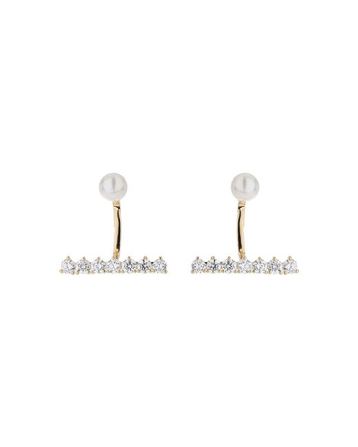 Mikey - Metallic Pearl Curved Link Crystal Strip Earring - Lyst