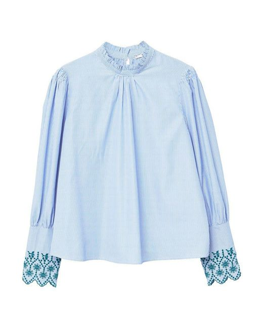 Mango | Blue Striped Embroidery Blouse | Lyst