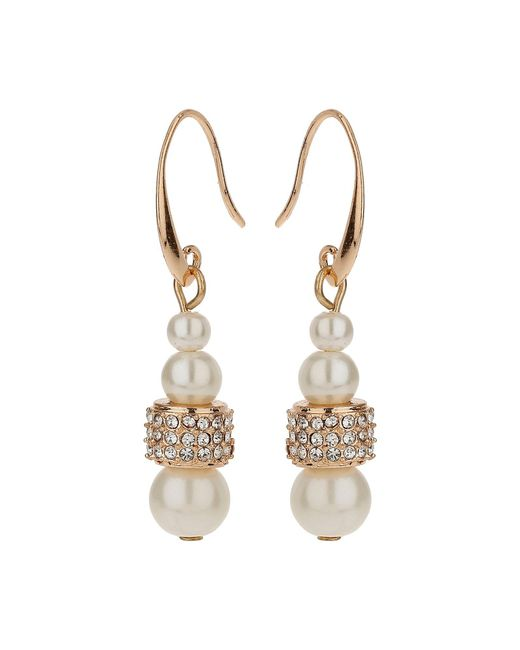 Mikey | Metallic Multi Crystal Tunnel Ring Pearl Earring | Lyst