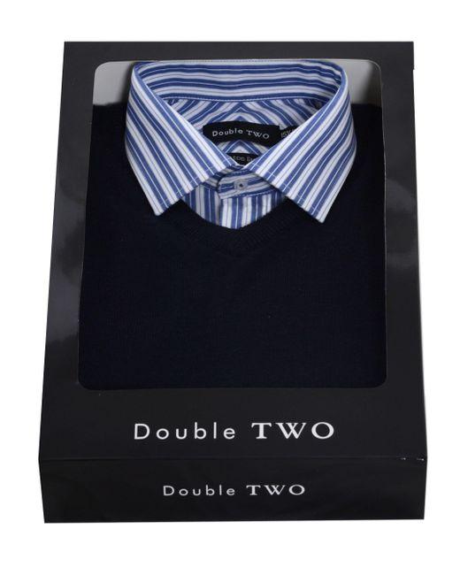 Double Two - Blue Men's Shirt & Jumper Set for Men - Lyst