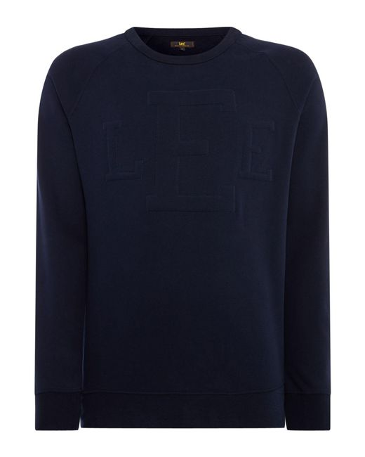 Lee Jeans - Blue Men's Crew Neck Logo Sweatshirt for Men - Lyst