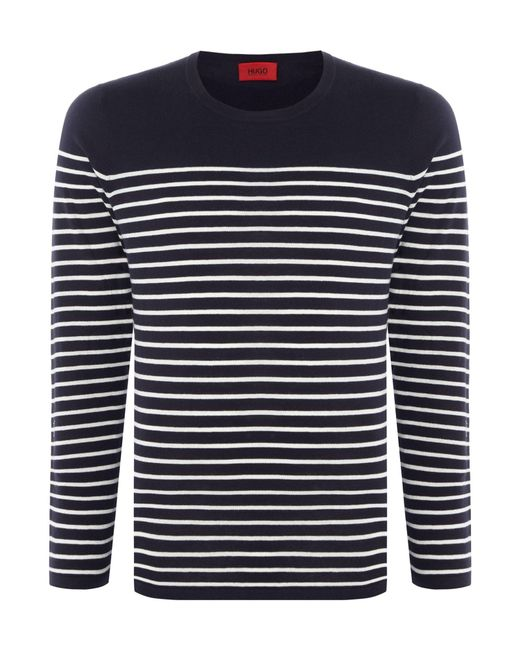 HUGO | Blue Men's Soman Knitted Breton Stripe for Men | Lyst