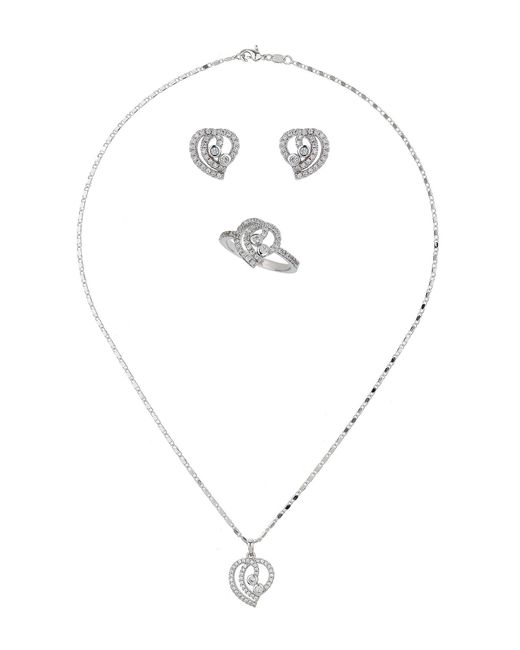 Mikey - White London Edged Crystal Heart Necklace Earring - Lyst