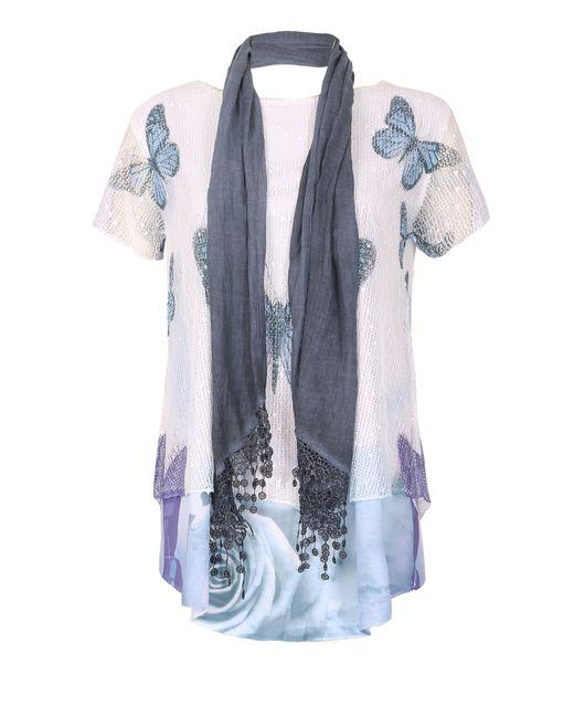 Izabel London | Blue Butterfly Contrast Hem Top | Lyst