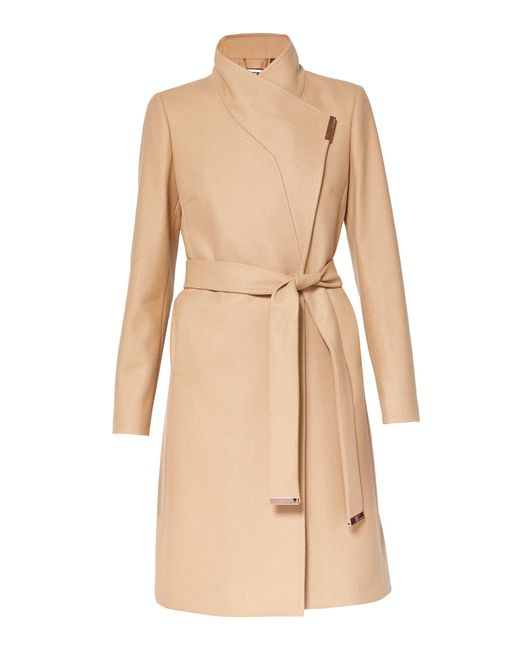 Ted Baker | Natural Kikiie Cashmere-blend Wrap Front Coat | Lyst