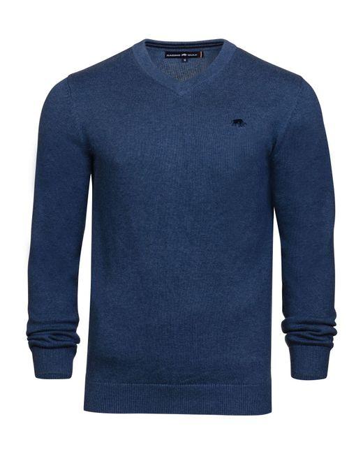 Raging Bull - Blue V-neck Cotton Cashmere Jumper for Men - Lyst