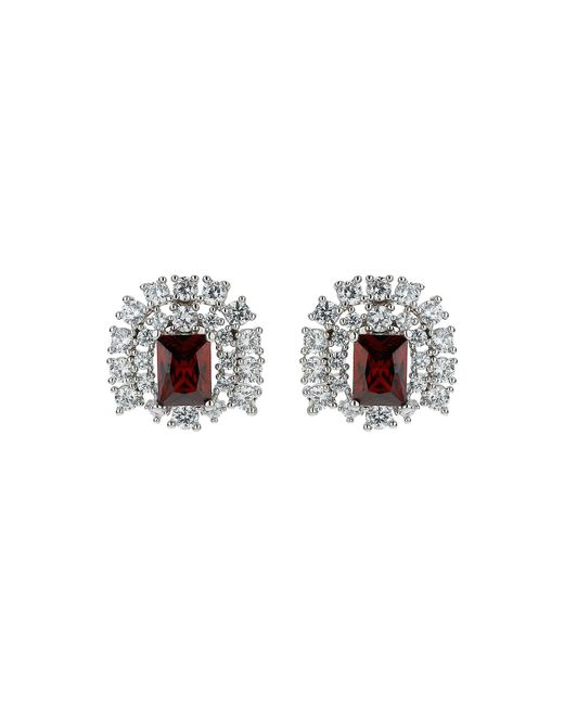 Mikey | Red Cubic Square Centre Stud Earring | Lyst