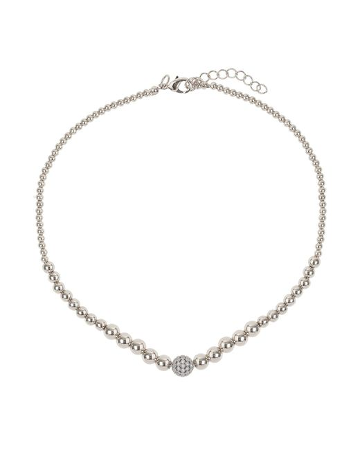 Mikey - White Fine Cubic Ball Multi Metal Necklace - Lyst