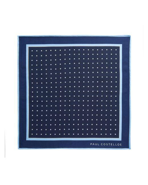 Paul Costelloe - Blue Clane Herringbone Spot Pocket Square for Men - Lyst