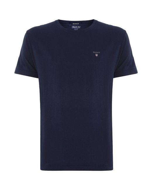 Gant - Blue Solid T Shirt for Men - Lyst