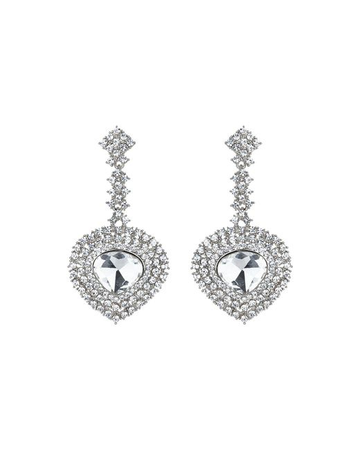 Mikey - Metallic Oval Crystal Long Drop Surround Earring - Lyst