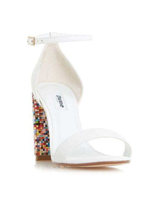 Dune - White Millionss Beaded Heel Sandals - Lyst