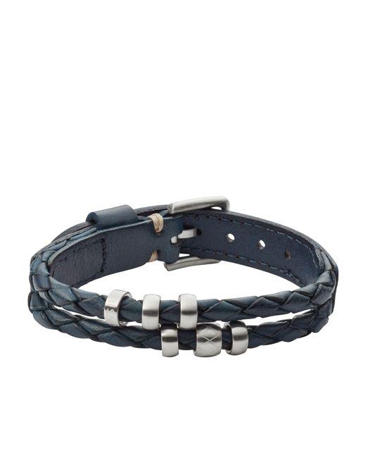 Fossil | Blue Jf02346040 Mens Leather Bracelet for Men | Lyst