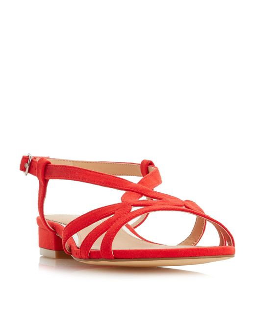 Dune - Red Nebular Low Block Strappy Sandals - Lyst