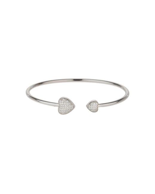 Mikey - Metallic Sterling Silver 925 Twin Heart Bangle - Lyst