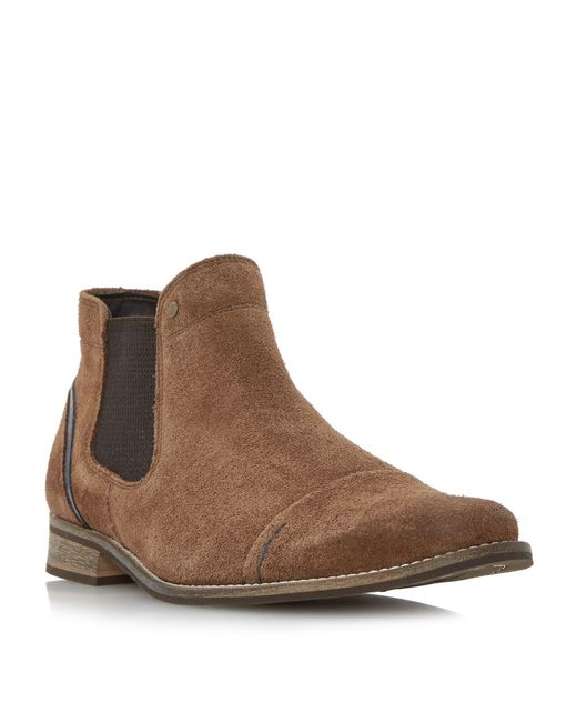 Dune   Brown Chili Blue Detail Chelsea Boots for Men   Lyst