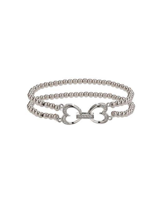 Mikey | White Twin Heart Twin Elastic Bracelet | Lyst