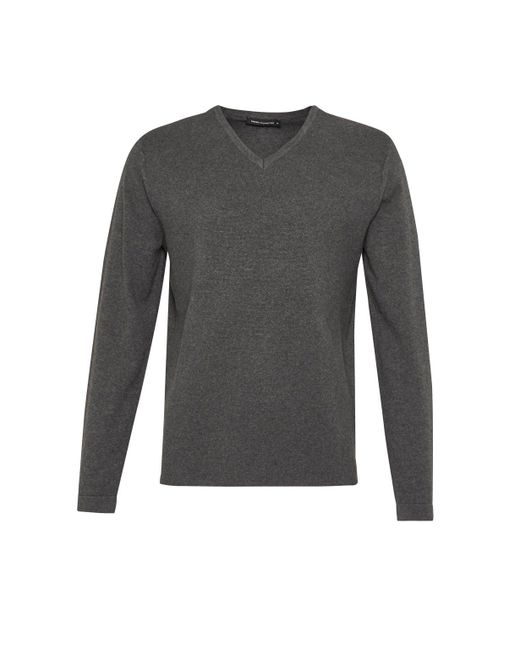 French Connection - Gray Milano Front Cotton V Neck Jumper for Men - Lyst