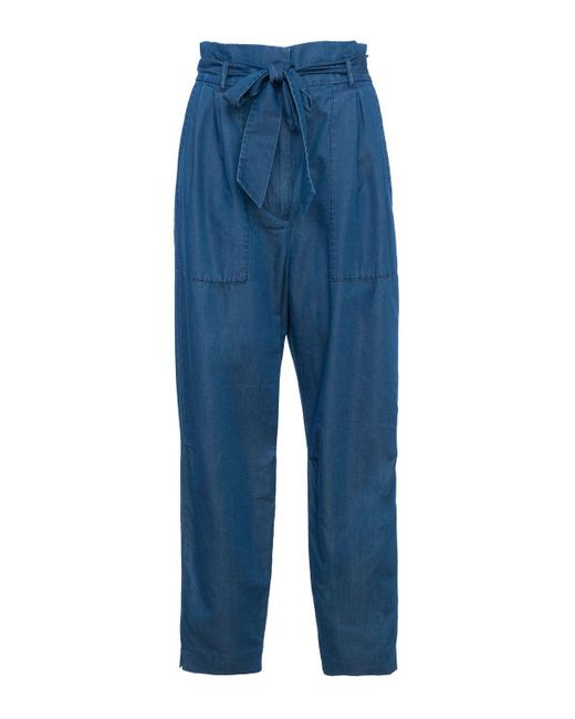 French Connection | Blue Ary Tencel Paperbag Waist Trousers | Lyst