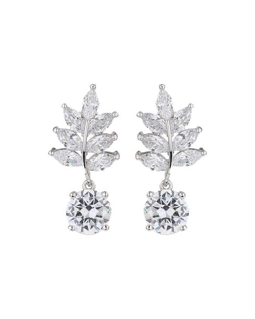 Mikey - White Drop Leaf Cubic Stone Earring - Lyst