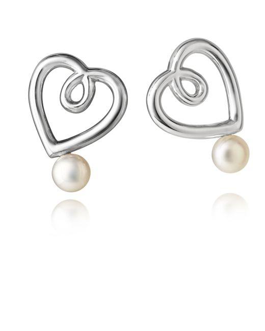 Jersey Pearl   Metallic Silver Double Heart Stud Earrings   Lyst