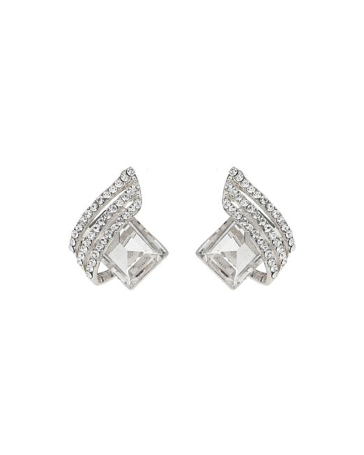 Mikey | White Squre Stone Curved Studded Stud Earring | Lyst