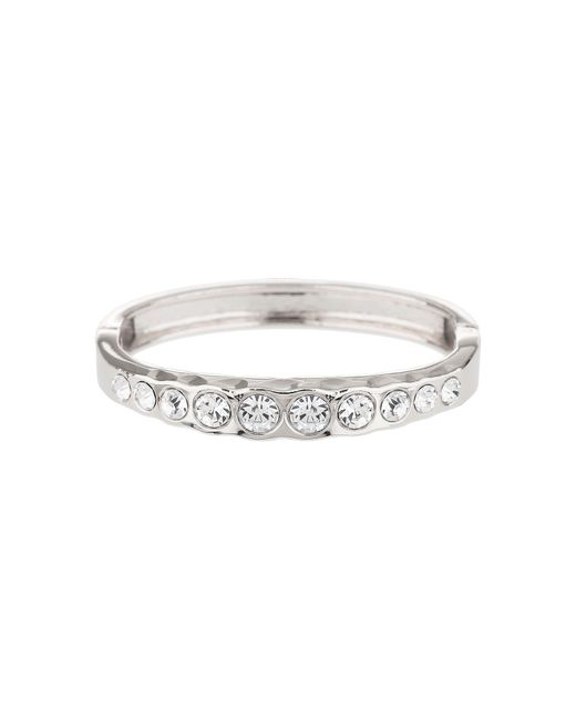 Mikey - White Round Crystal Link Oval Cuff Bracelet - Lyst