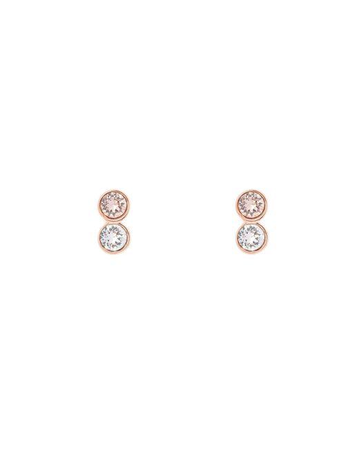 Karen Millen - Metallic Rose Gold & Crystal Dot Stud Earring - Lyst