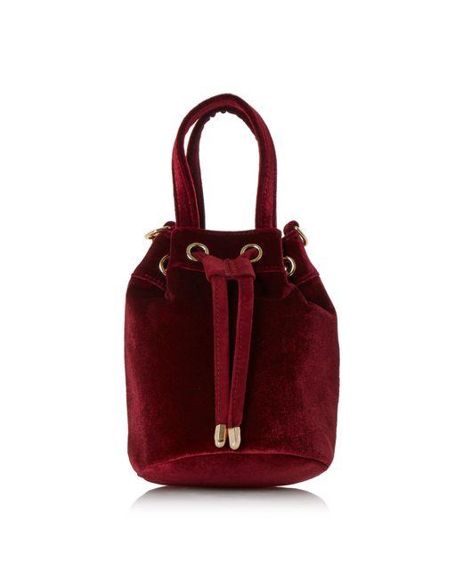 Dune | Red Borough Small Velvet Bucket Bag | Lyst