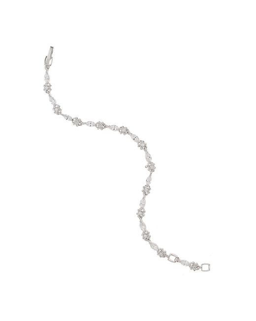 Mikey | White Oval Cubic Stone Linked Tennis Bracelet | Lyst