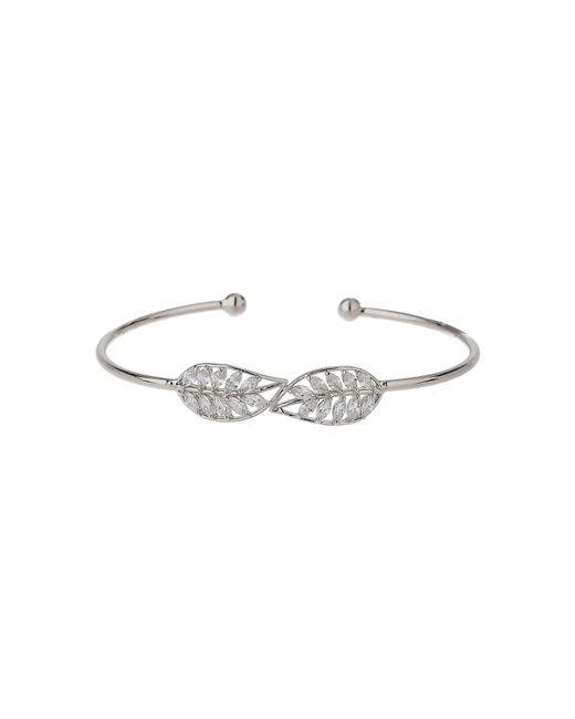 Mikey | White Twin Leaf Link Cubic Cuff Bangle | Lyst