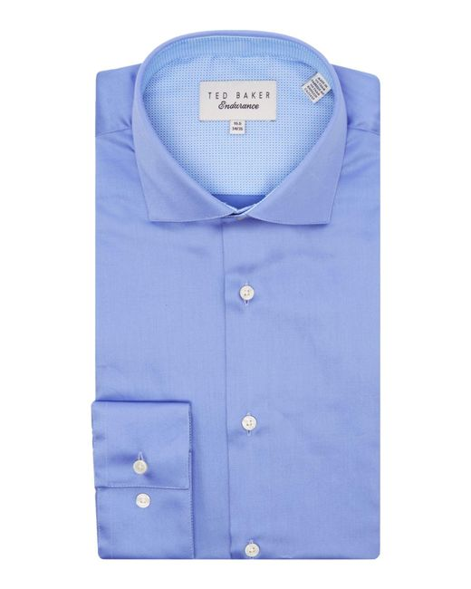 Ted Baker - Blue Rosest Slim Fit Plain Poplin Shirt for Men - Lyst