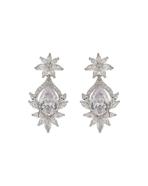 Mikey - White Oval Cibic Edge Flower Cubic Dropearring - Lyst