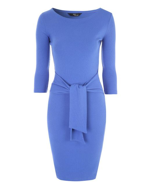 Jane Norman - Blue Ribbed Tie Front Dress - Lyst