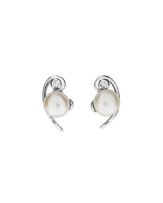Azendi - Metallic Silver & Pearl Curve Studs - Lyst