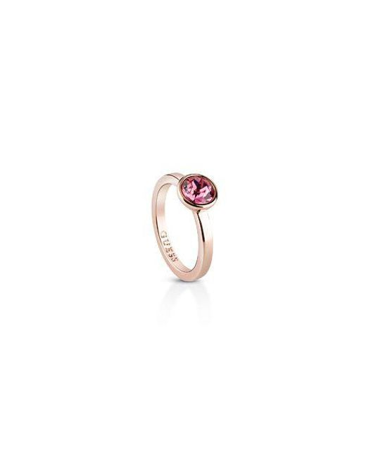 Guess | Pink Miami Ubr83019-54 Rose Crystal Ring | Lyst