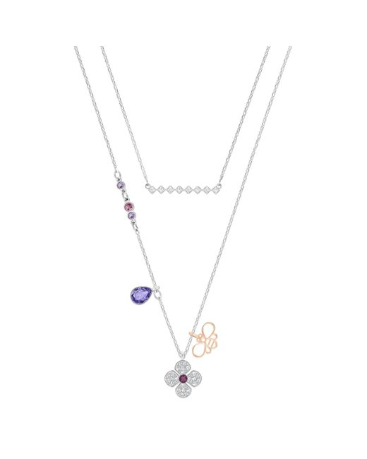 Swarovski | Metallic Glowing Clover Necklace | Lyst