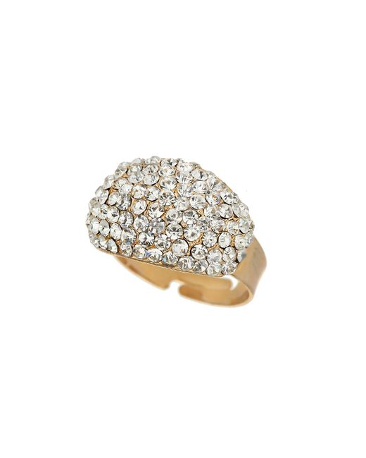 Mikey | Metallic Oblong Style Crystal Ring | Lyst