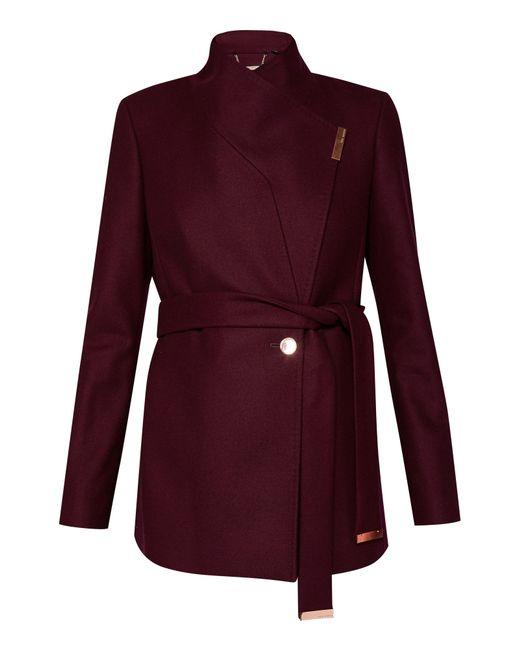 Ted Baker | Purple Keyla Short Wrap Cashmere-blend Coat | Lyst