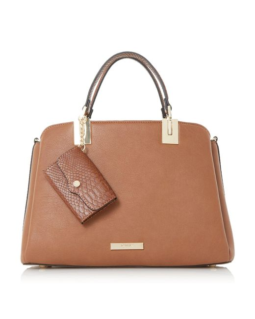 Dune   Brown Dillier Purse Charm Top Handle Bag   Lyst
