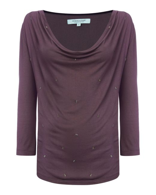 Dickins & Jones | Gray Cowl Neck Top With Embellishment | Lyst