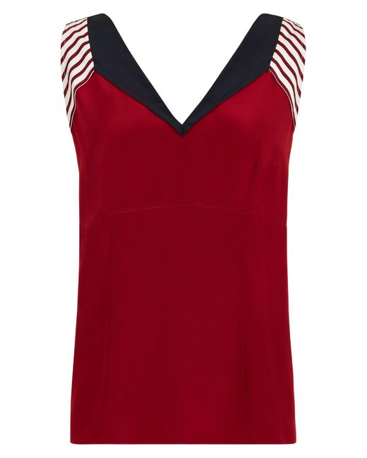 Jaeger   Red Silk Colour Block Panel Top   Lyst