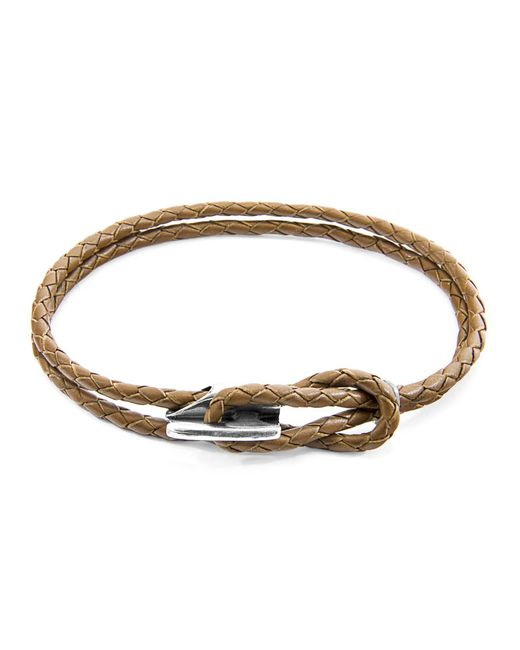 Anchor & Crew   Brown Padstow Silver And Leather Bracelet   Lyst