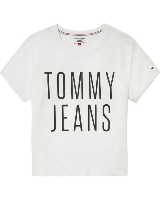 Tommy Hilfiger - White Tommy Jeans Cropped Logo T-shirt - Lyst