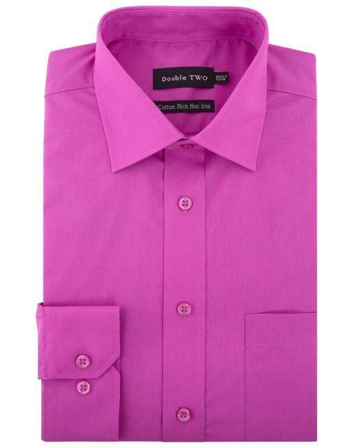 Double Two | Purple Plain Poplin Long Sleeve Shirt for Men | Lyst