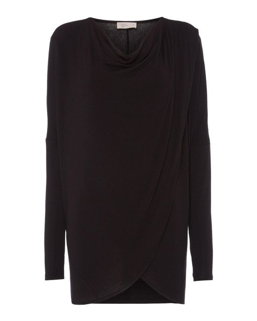 Label Lab | Black Wrap Over Cowl Knit Jumper | Lyst