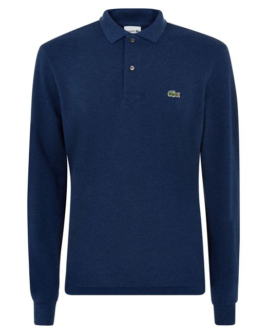 Lacoste | Blue Classic Long Sleeved Marl Polo Shirt for Men | Lyst
