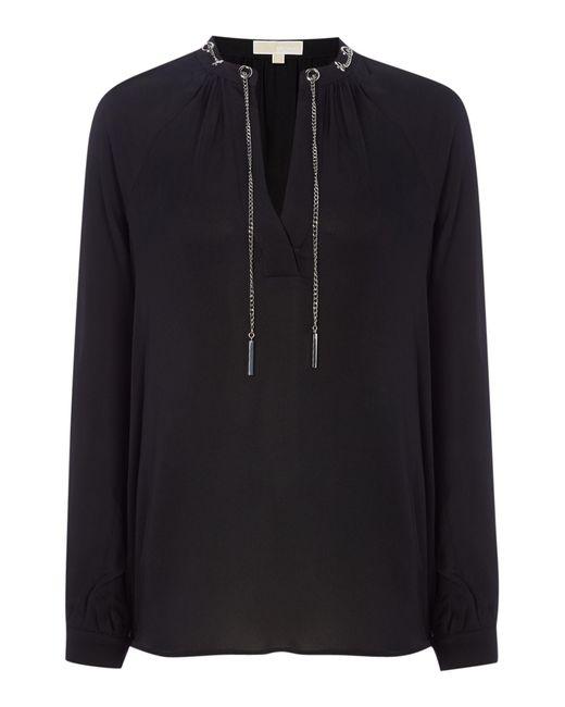 Michael Kors   White Long Sleeve Chain Silk Blouse   Lyst
