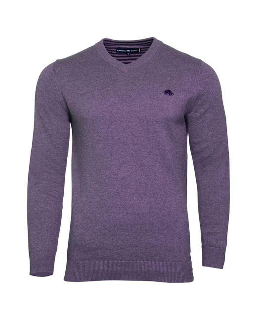 Raging Bull | Purple V-neck Cotton Cashmere Jumper for Men | Lyst