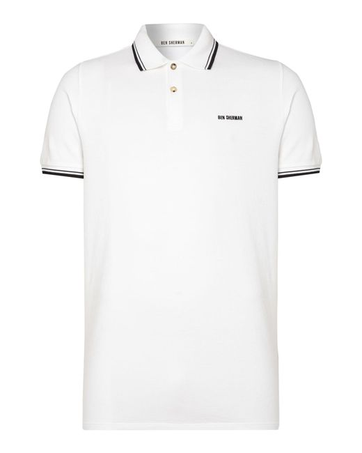 Ben Sherman | White Block Font Pique Polo Shirt for Men | Lyst